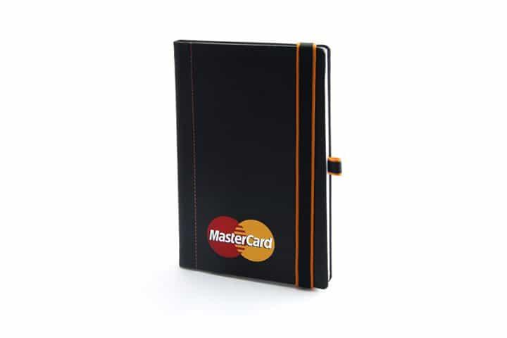 Carnet simili cuir gomme surpiqure - Carnet de note personnalisé MasterCard